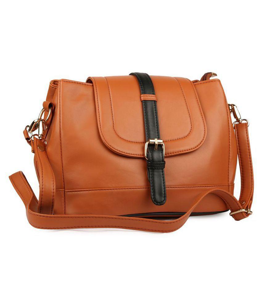 ARFA FASHIONS Tan P.U. Sling Bag