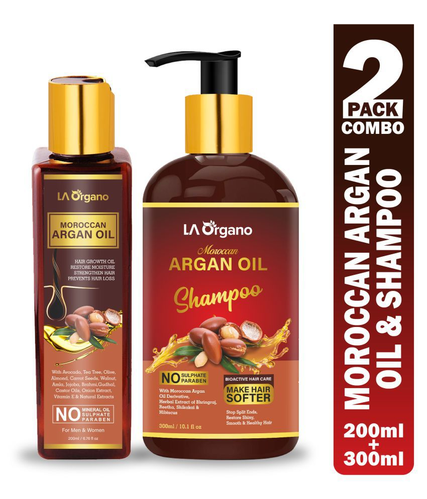 LA ORGANO Argan Oil & Shampoo For Hair Growth 500 mL Pack of 2