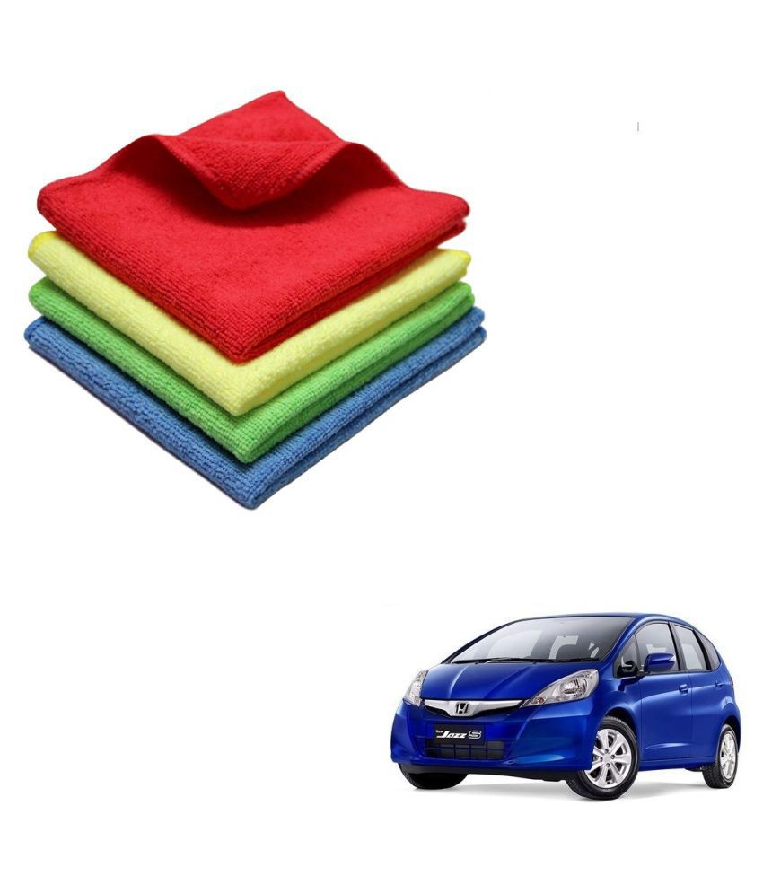 Kozdiko Microfiber Cleaning Cloth Car 300GSM 40x40 cm Pack of 4 For Honda Old Jazz (2009-2014)