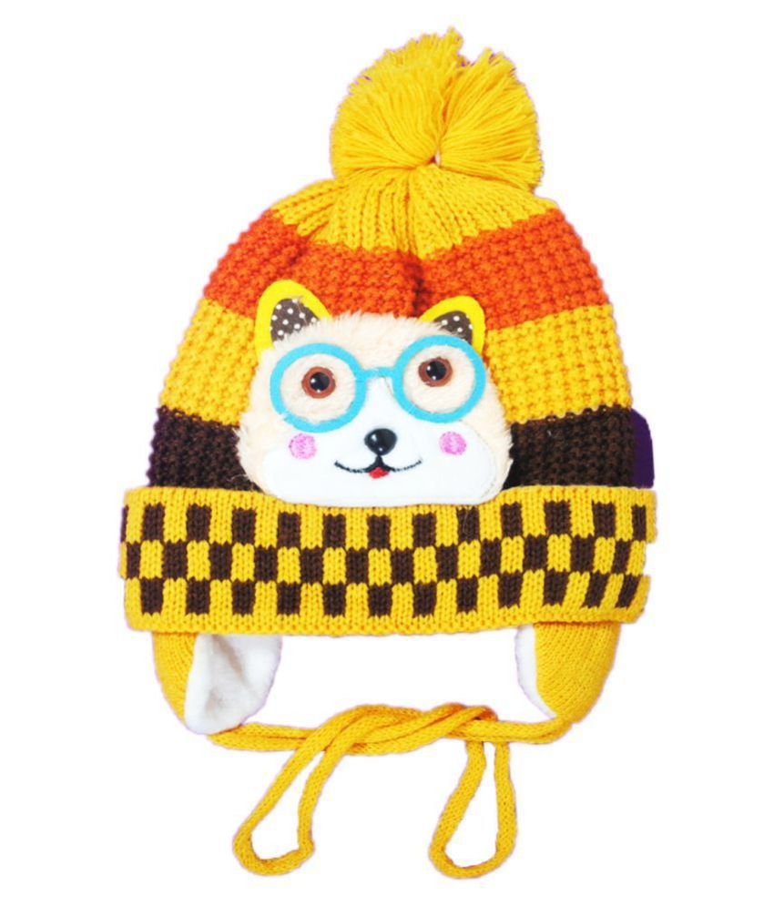 Kids Stylish Winter Cap/ Woollen Cap (Yellow)