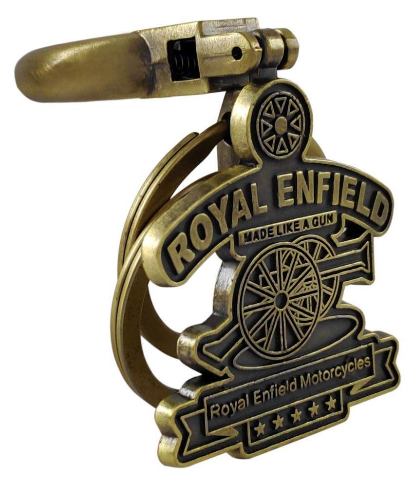 Nitlok Men and Women Royal Enfield Classic Bullet Bike Brass Metal Keychains (Yellow)
