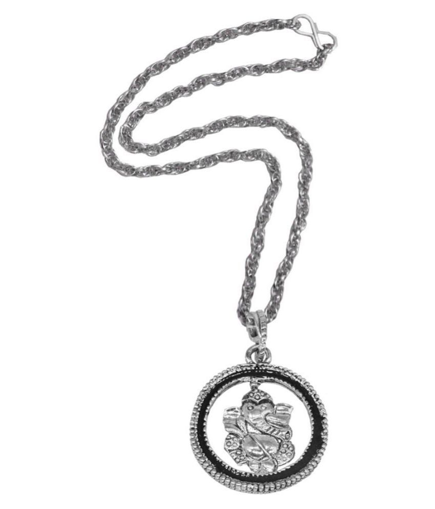 Men style Religious Jewelry Lord Shree Ganesh Locket With Chain Sterling Silver Zinc, Alloy Pendant Set
