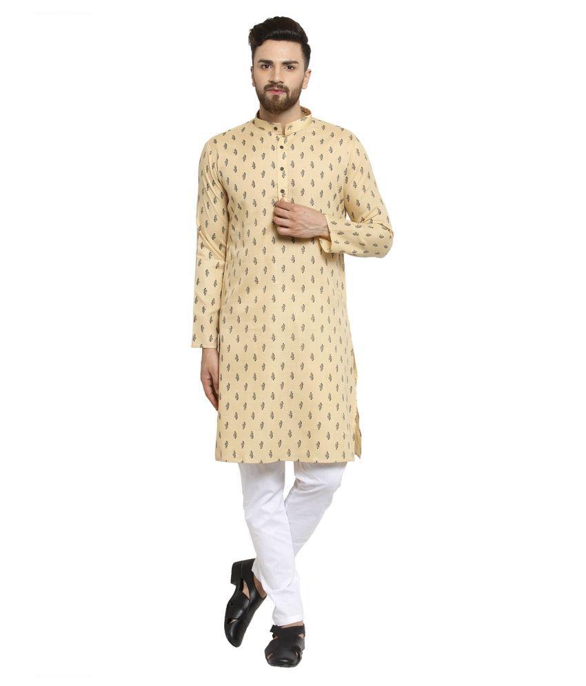 RG Designers Beige Cotton Blend Kurta Pyjama Set Single Pack