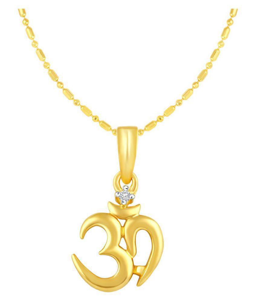 VIRINA OM Gold Plated Alloy & Brass Cubic Zirconia God Pendant with Chian for Women & Men [VGP1030G]