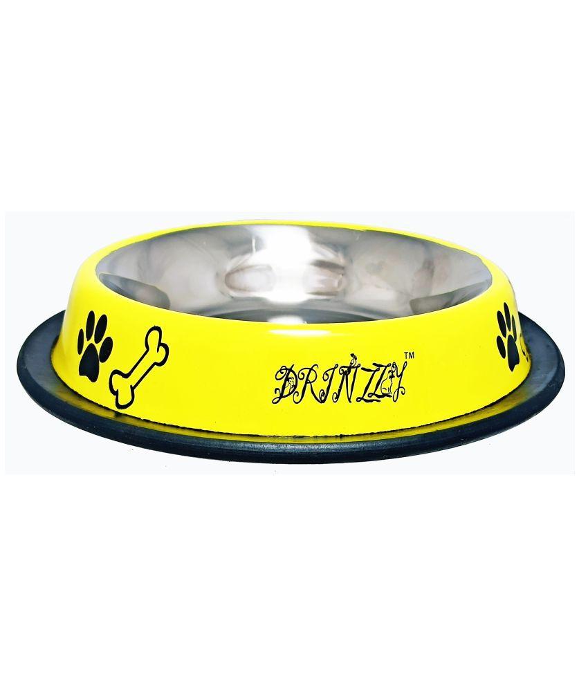 Drinzzy Stainless Steel  Anti Skid Yellow Dog Bowl  (200ml)