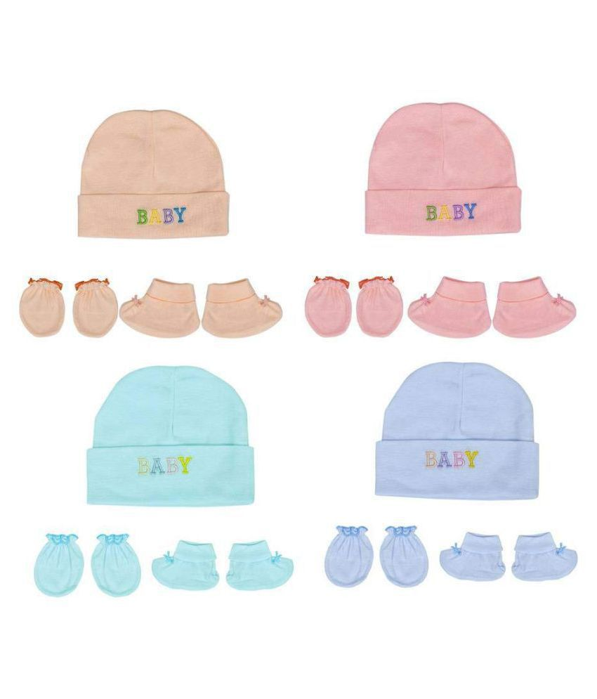 Gouravsumana Baby Boys and Baby Girl's Soft Cotton Cap ( Multicolour ; Pack Of 4 ) 0-6 Months