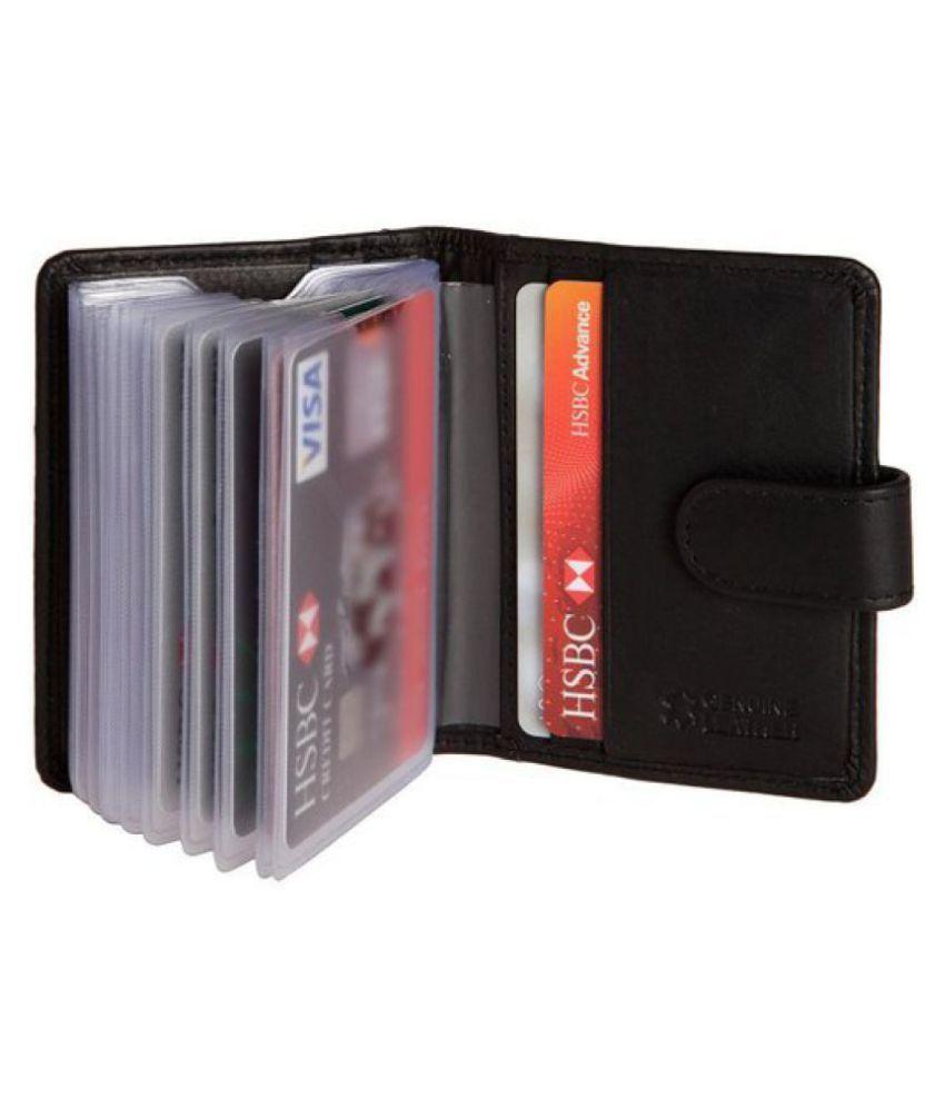 Hide&Sleek RFID Protected Genuine Black Leather 20 Slots Card Case