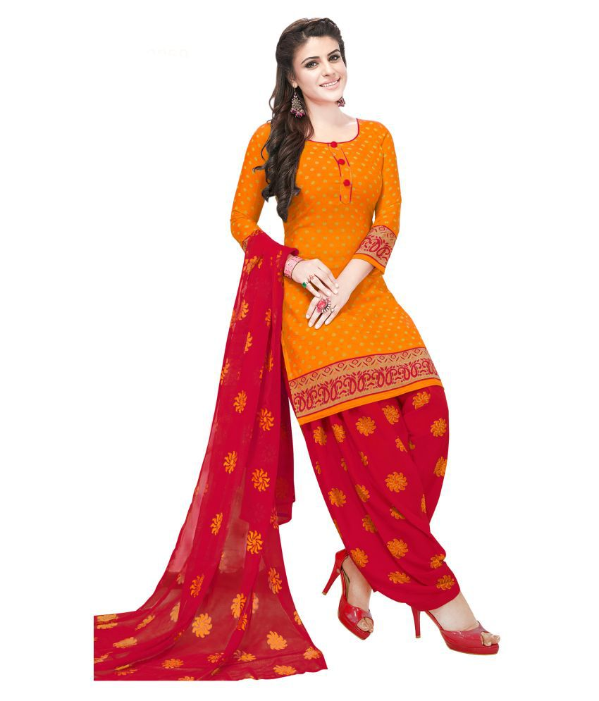 Salwar Studio Orange Synthetic Dress Material