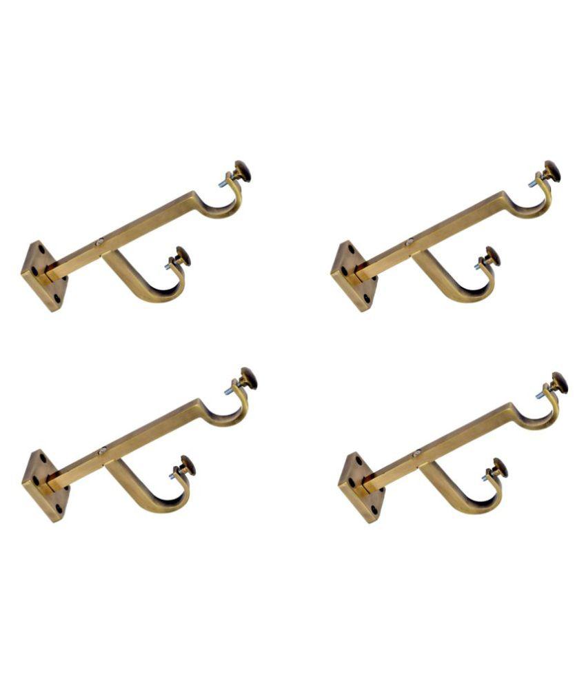 CasaGold Set of 4 Brass Double Rod Bracket
