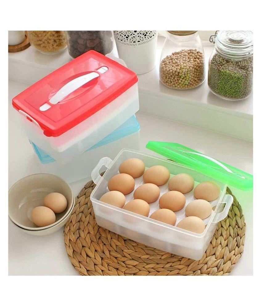 Everbuy (Set of 2) 24 Eggs Dispenser Holder, Large Capacity Egg Box Egg Carrier Container, Egg Storage Case, Eggs Tray Holder with Lid
