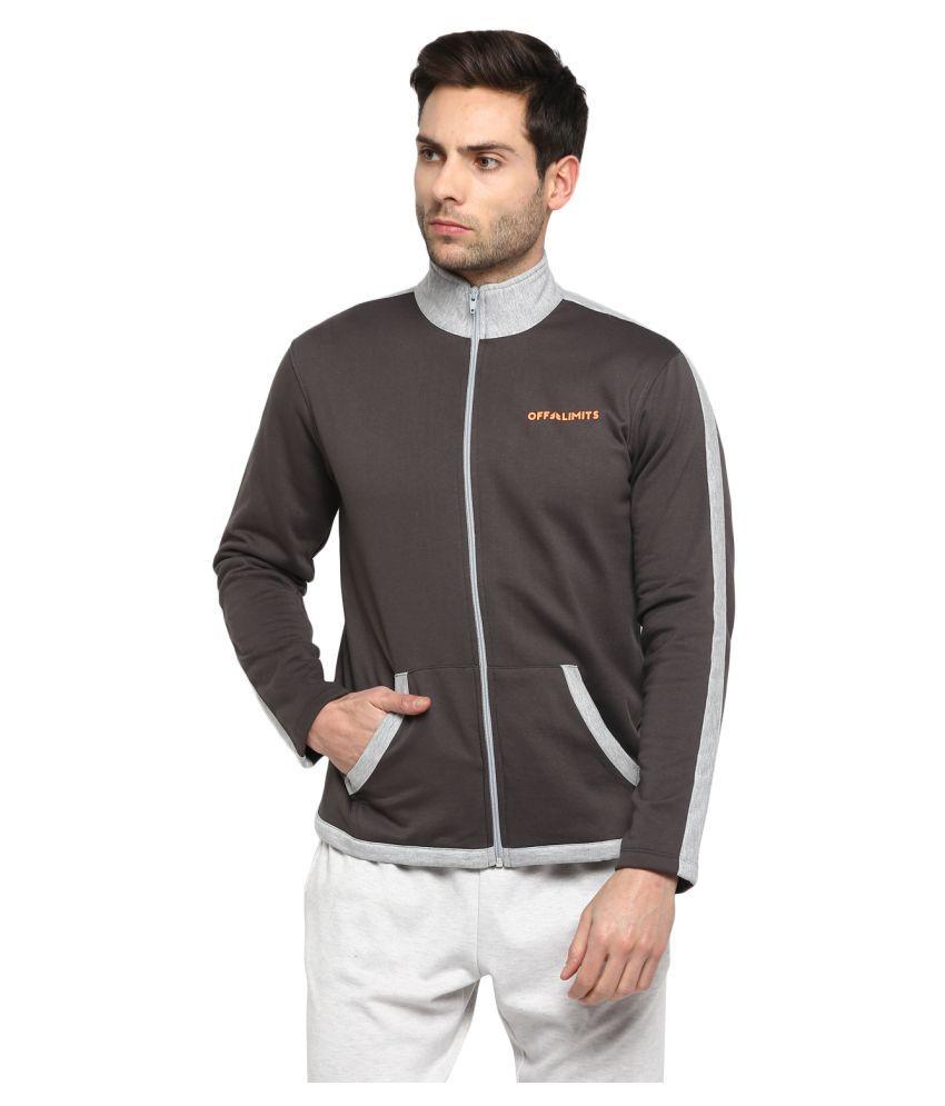 OFF LIMITS Dark Grey Polyester Fleece Jacket