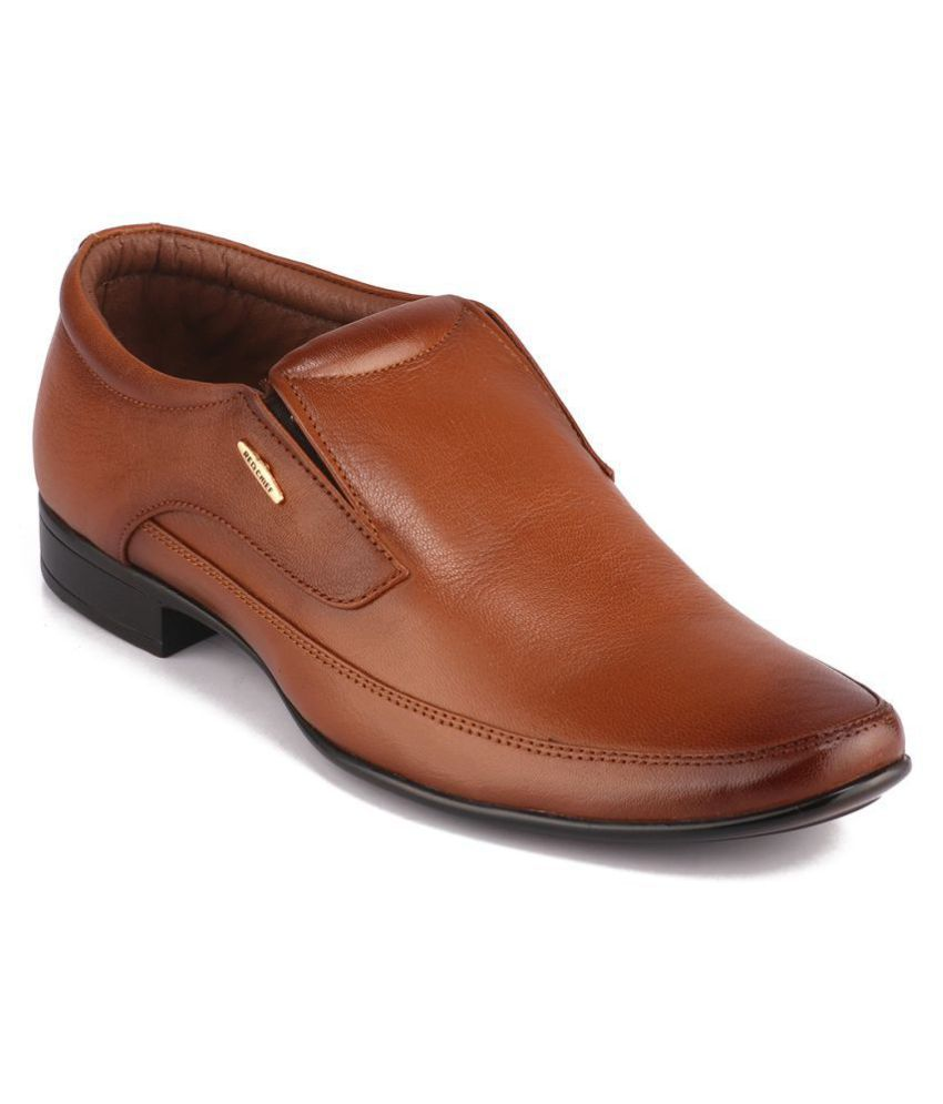 Red Chief Slip On Genuine Leather Tan Formal Shoes