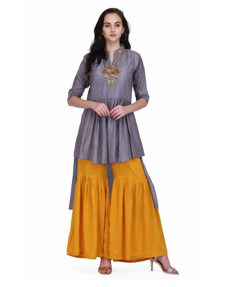 INDIA FASHION HOUSE Silver Chanderi A-line Kurti