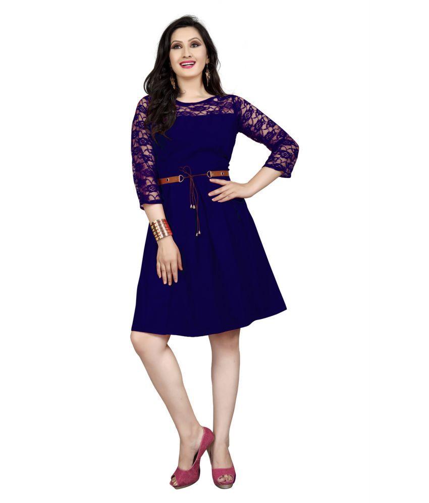MARVEL COLLECTION Crepe Blue Regular Dress