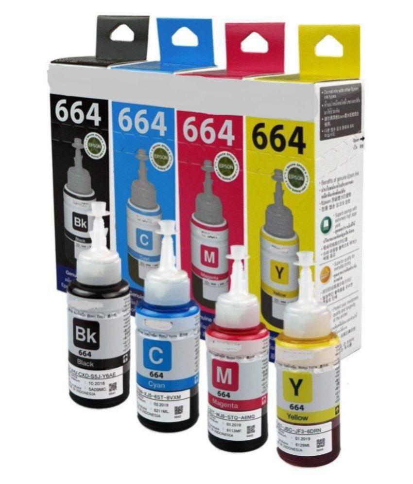 HV CARTRIDGDE T664 INKL100 L110 Multicolor Pack of 4 Ink bottle for EPSON INK FOR L100,L110,L200,L210,L220,L300,L350,L355,L365,L455,L500,L550,L555,L13