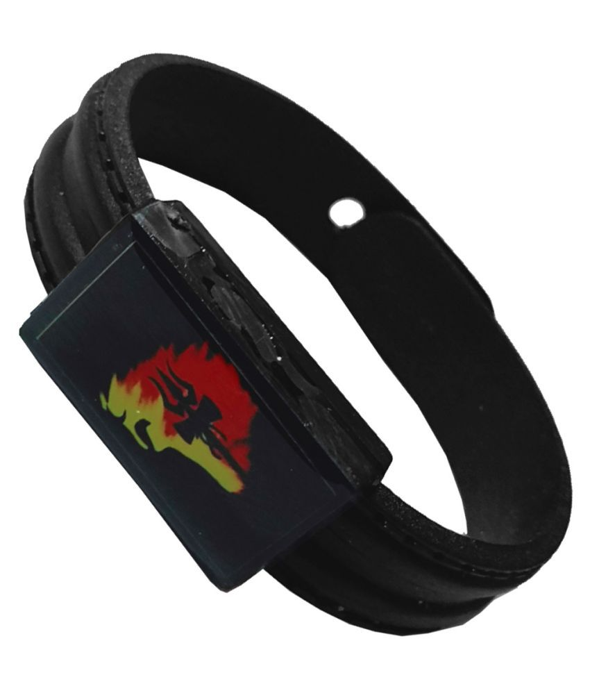 Men Style Lord Shiv Mahadev Trishul Damru Multi Rubber Bracelet