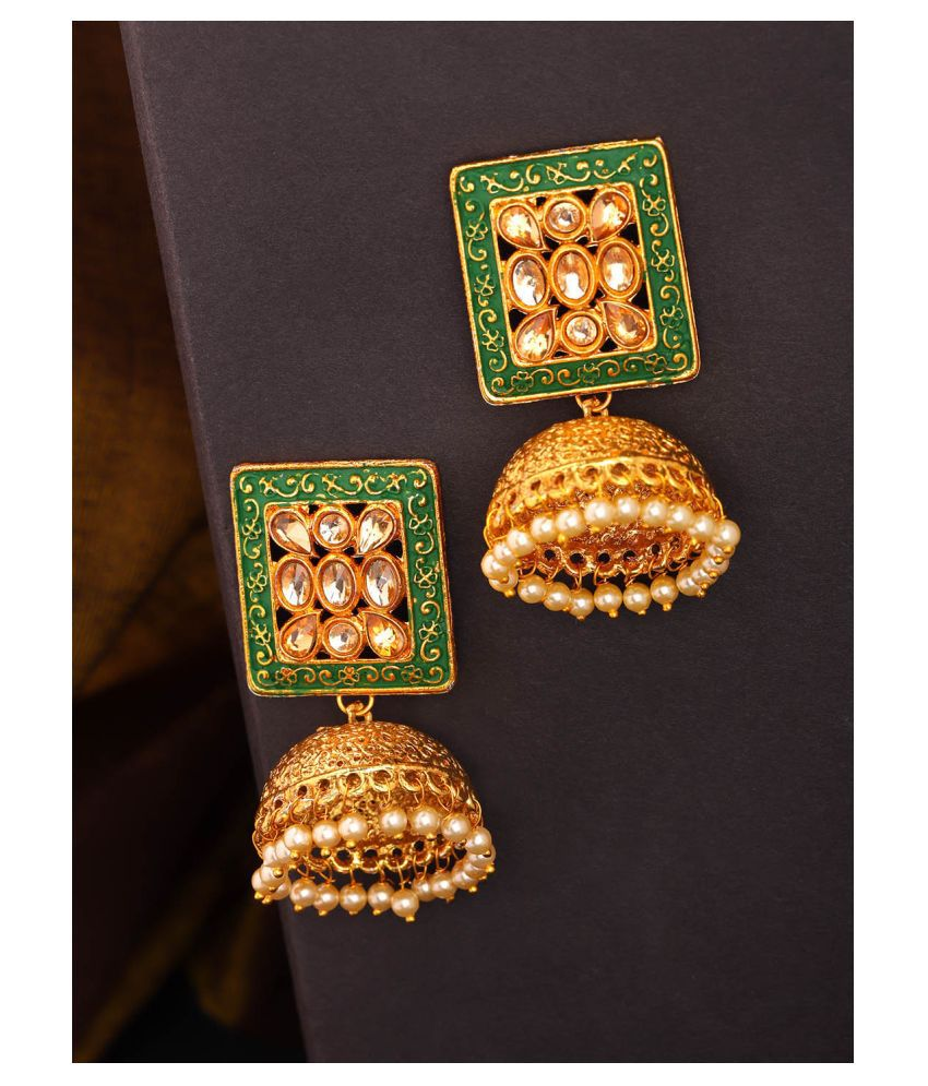 Priyaasi Beautiful Square Shaped Green And Gold Artificial Stone Gold Plated Jhumkis for Women and Girls