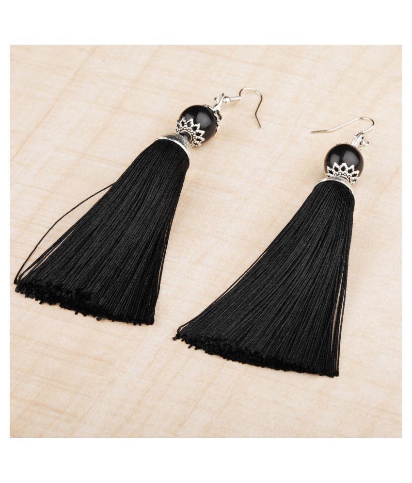 Silver Shine Graceful Black Long Thread Tassel Earrings for Women