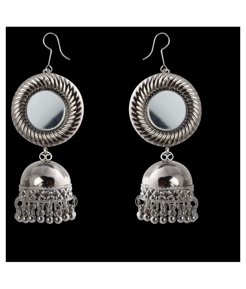 Silver Shine Lovely Oxidised Silver Jhumki 2 Layred Earrings for Women