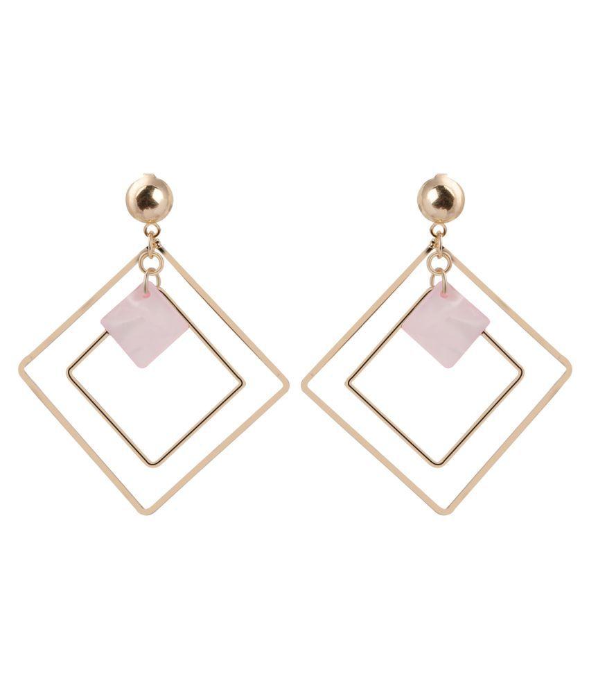 Silver Shine Stunning Golden Pink  Earrings for Women