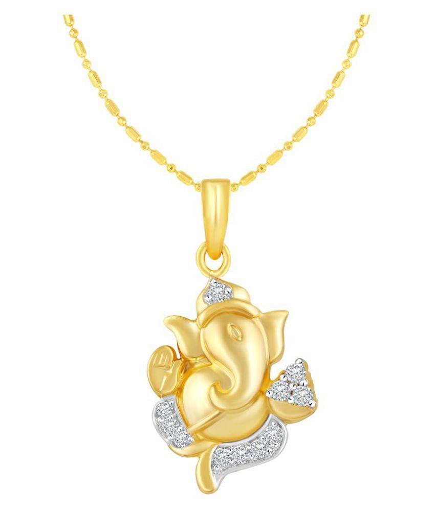 VIRINA Ekdantay Ganesh Gold Plated Alloy & Brass Cubic Zirconia God Pendant with Chain for Women & Men [VGP1046G]