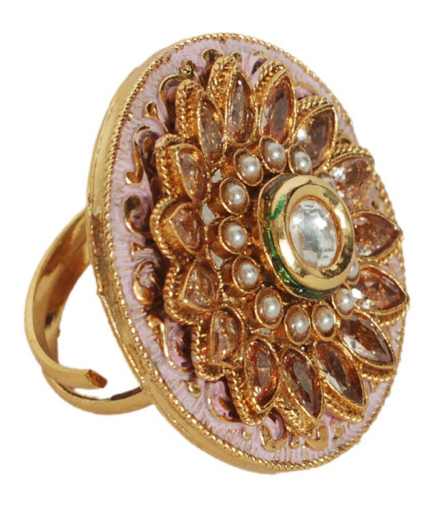 Indian Style Fashionable Wedding Wear Gold Plated Adjustable Size Polki Ring