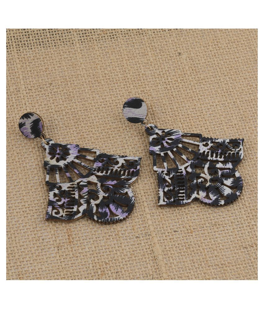 SILVER SHINE Wonderful Attractive  Wooden Light Weight  Earrings for Girls and Women.