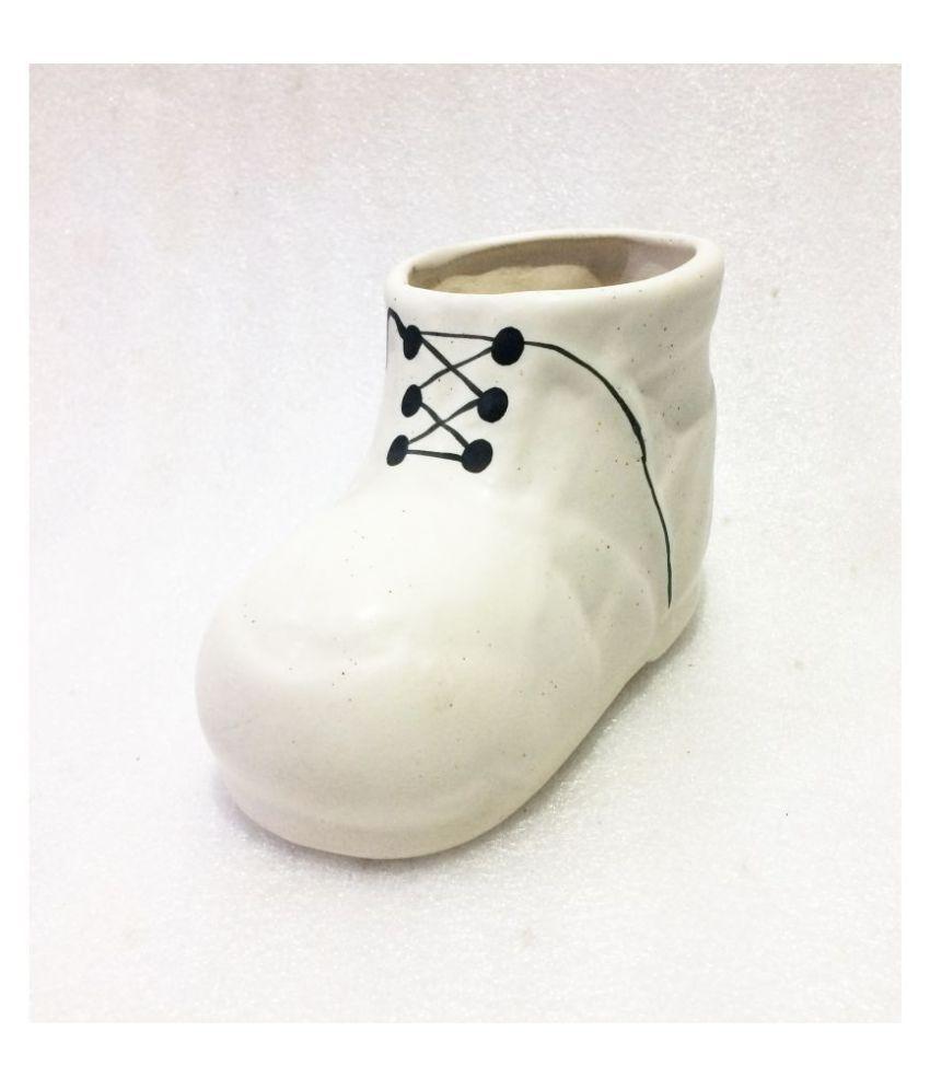 Metier Decorative Shoe Shape Plant Pot For Home-1pc Indoor Ceramic Planters
