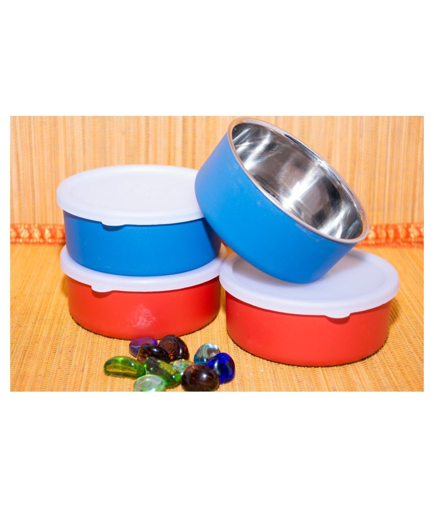 VAGMI Round Container Steel Food Container Set of 4 1200 mL