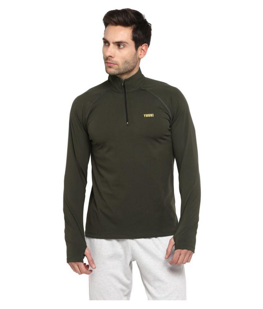 YUUKI Olive Polyester Fleece Sweatshirt