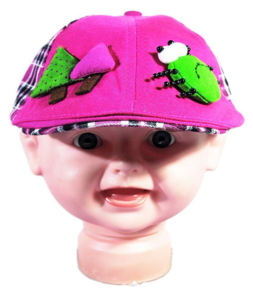 Kids Stylish Plaid Beret Cap Pink
