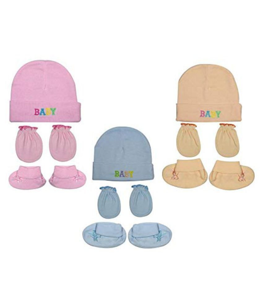 Gouravsumana Baby Boys and Baby Girl's Soft Cotton Cap ( Multicolour ; Pack Of 3 ) 6-9 Months