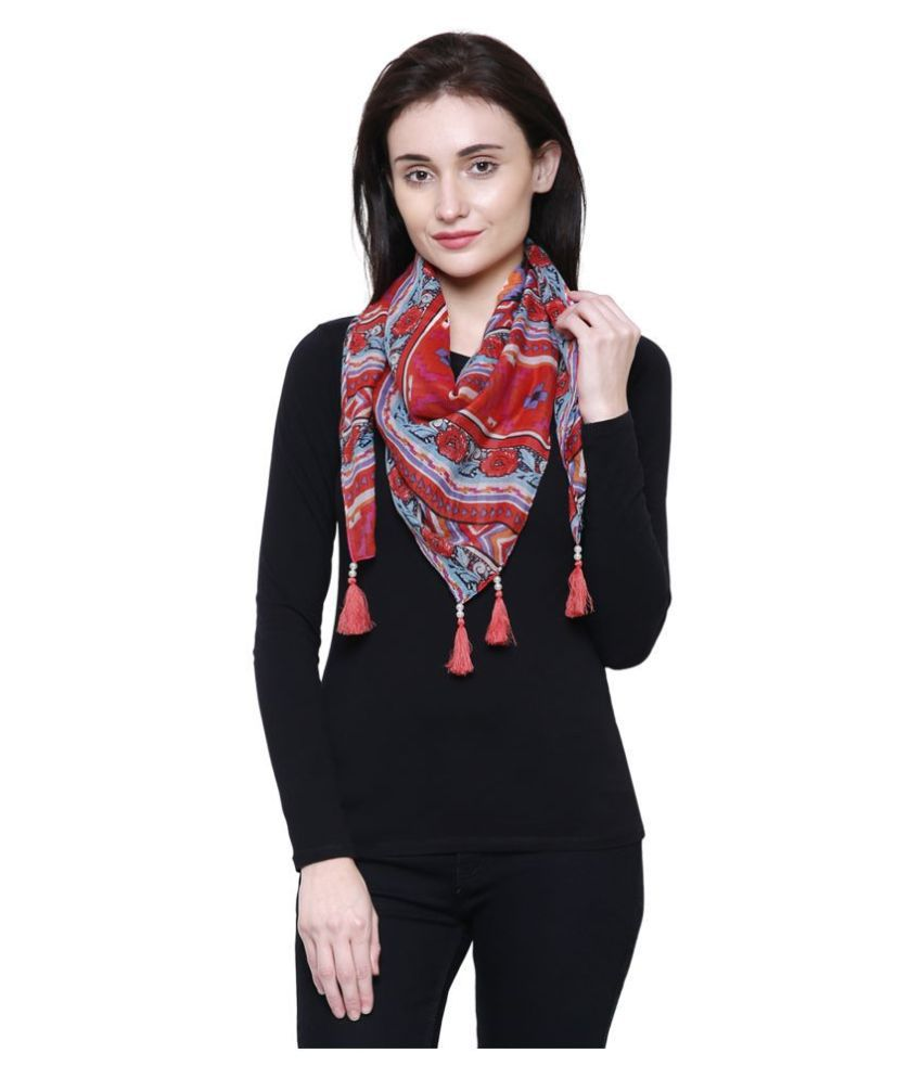 Anekaant Red Printed Cotton Scarves