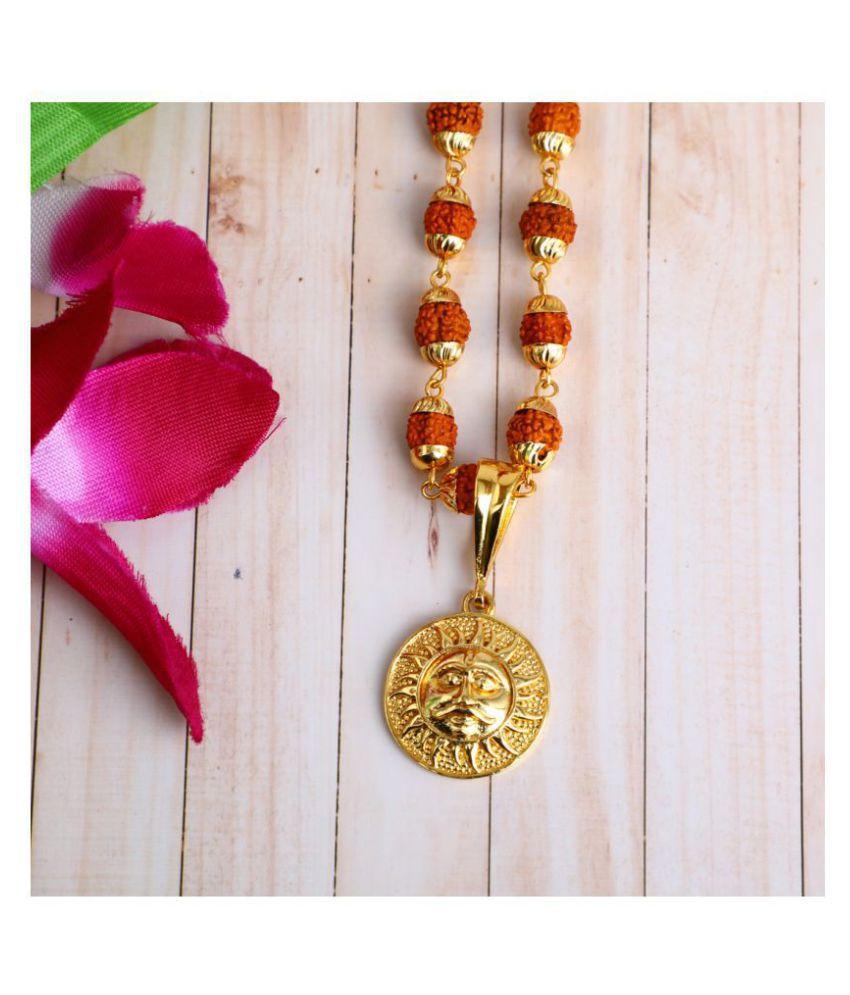 DIPALI Imitation Rudraksh Mala With Gold Plated SURYA DEV Inspired Pendant Set For Men BoyS