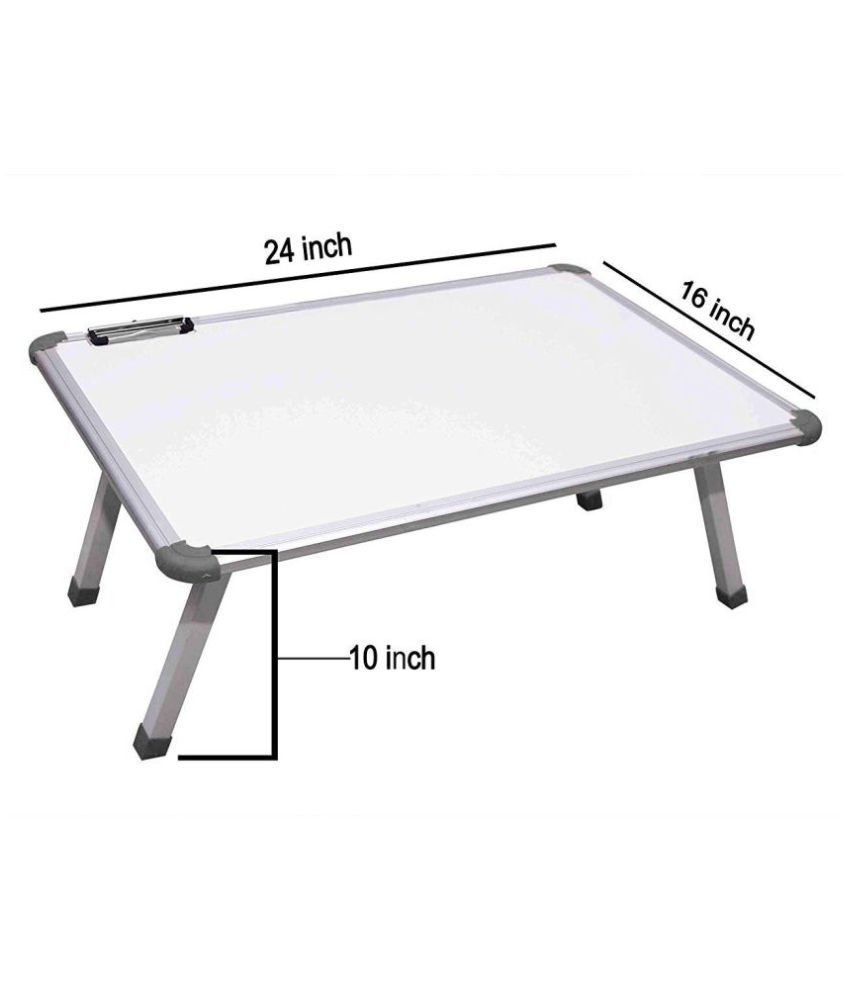 VMS OfficeBuddy Multi Purpose Fix Study Writing Bed Breakfast Tray Table for Children with Whiteboard Paper Holding Clip (Fix white Study table)
