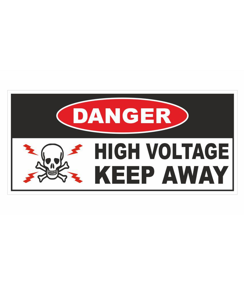 Rangvishwa Electrical Sign Danger High Voltage Keep Away Sticker (Pack of 10) 14 cm X 6.5 cm