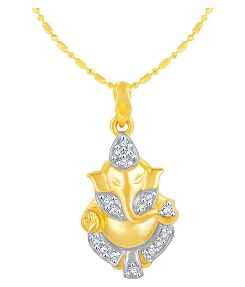 VIRINA Ekdantay Ganesh Gold Plated Alloy & Brass Cubic Zirconia god Pendant with Chain for Women & Men [VGP1131G]