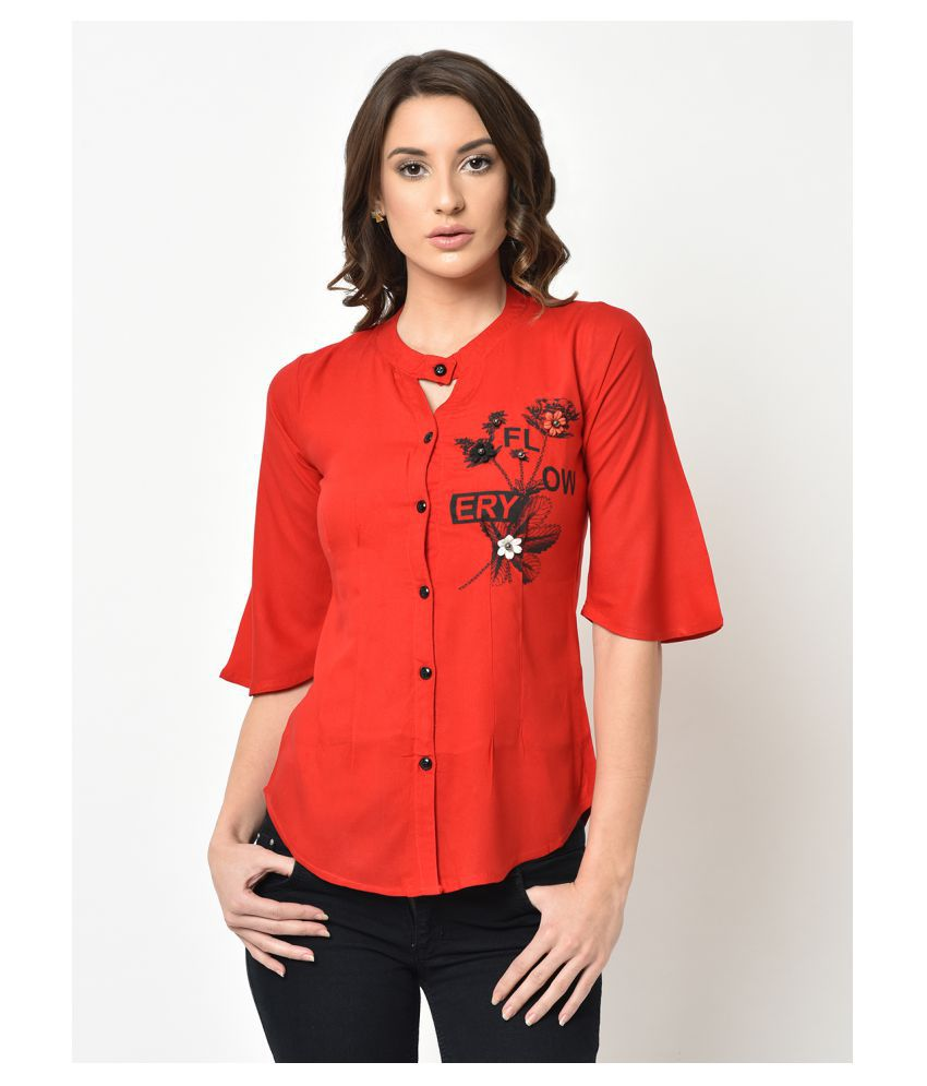 V2 Red Rayon Shirt