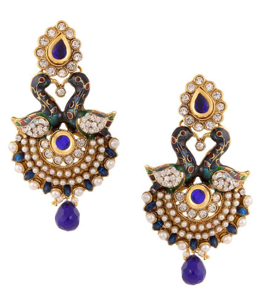 Adiva Blue Earings Dangle Drop Traditional Latest Kundan Moti Kammal Earrings for Women Girls