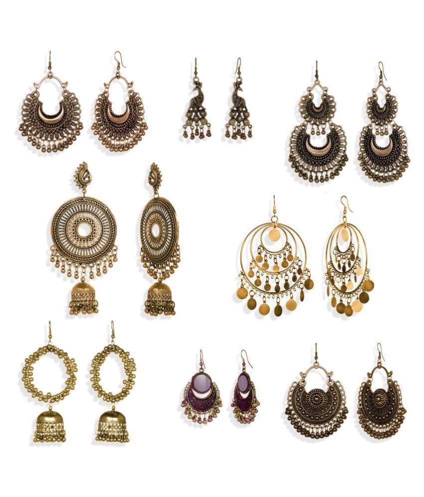 Alysa Combo of 8 Pair Oxidised Golden Chandbali Earrings for Women and Girls