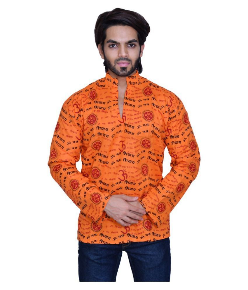 Balaji Garments Orange Khadi Kurta
