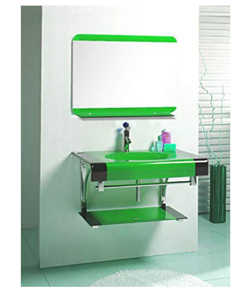 HIMANS Green Toughened Glass Wall Hung Wash Basins