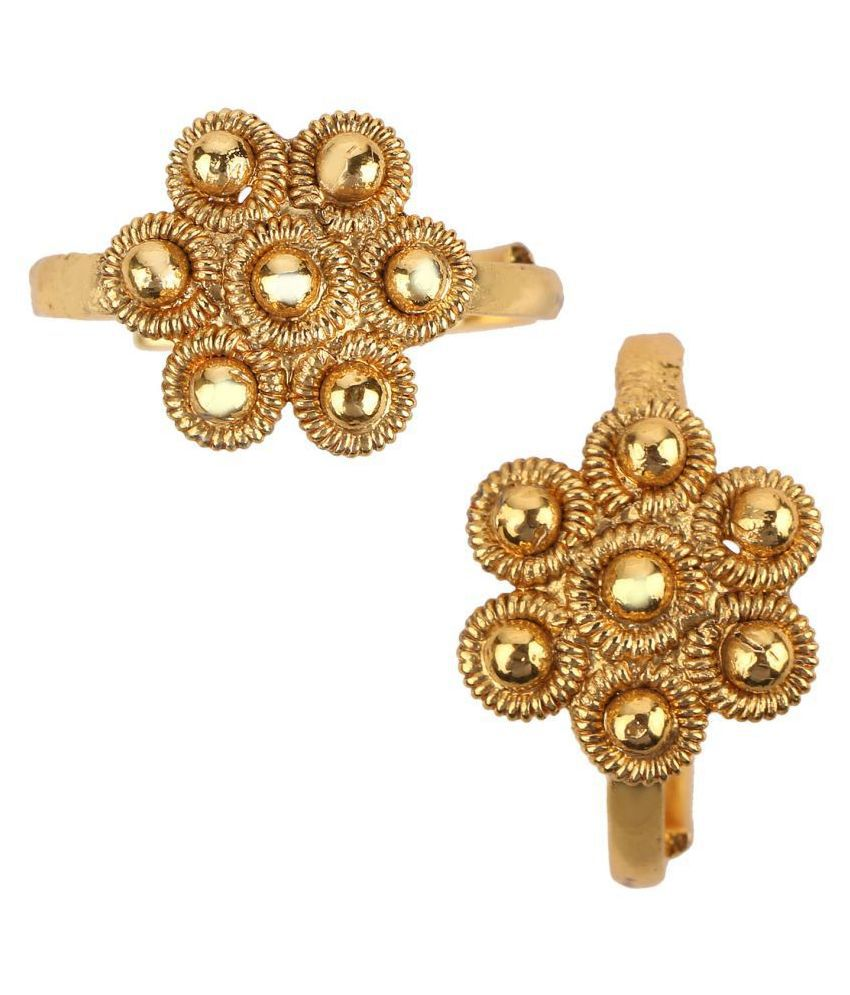 Adiva Bichiya Metti Golden Copper Adjustable Leg Jewellery Toe Ring for Women