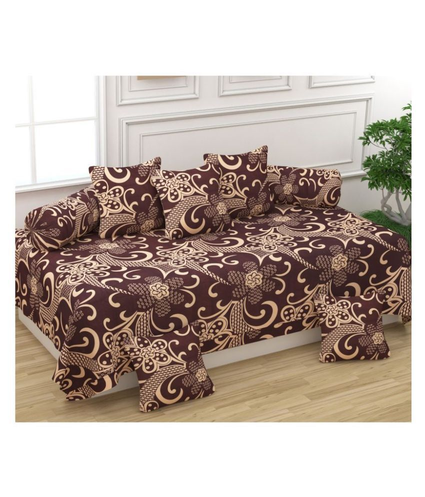 Homefab India Poly Cotton Brown Floral Diwan Set 8 Pcs