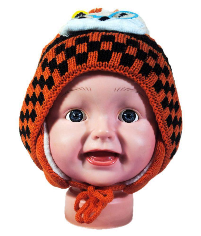 Kids Stylish Winter Cap/ Woollen Cap (Orange)