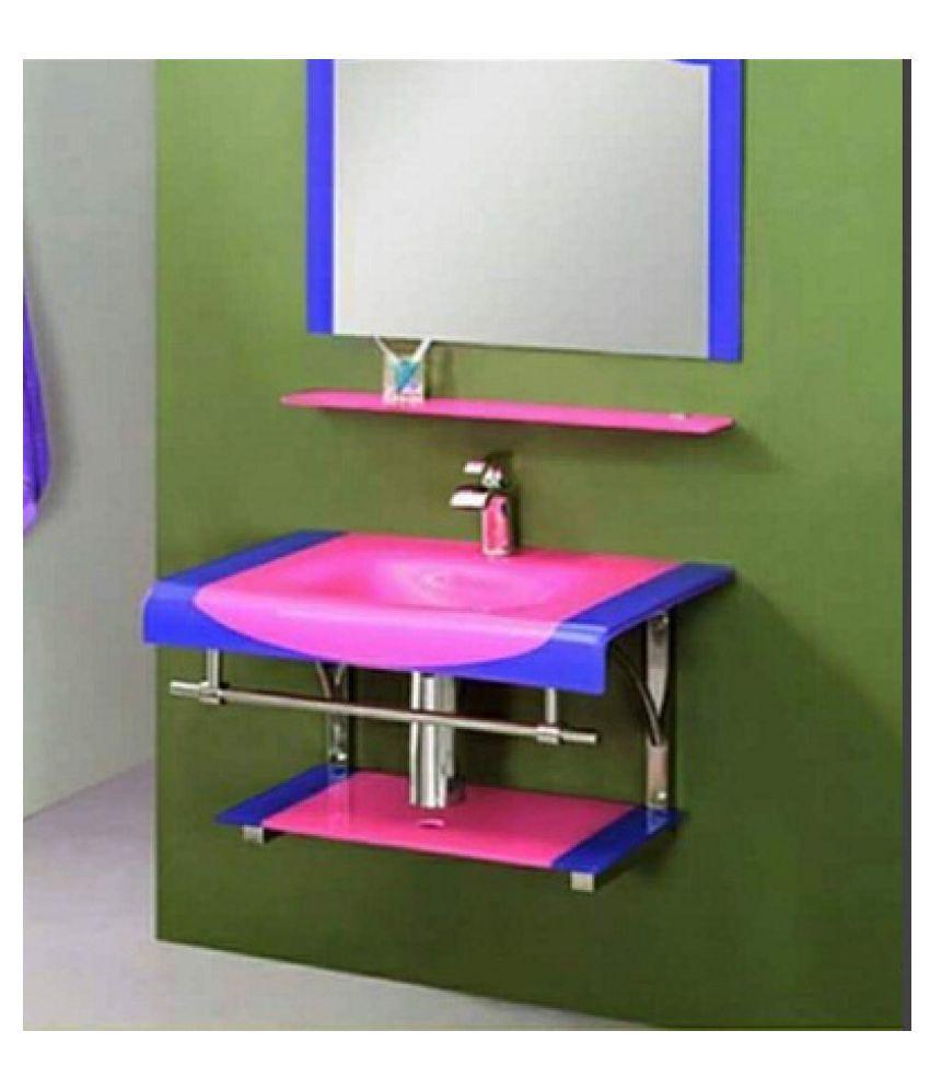 ARVIND SANITARY PVT LTD Pink Toughened Glass Wall Hung Wash Basins