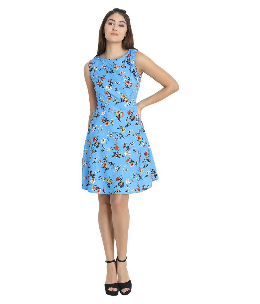 Proficiens Crepe Blue A- line Dress