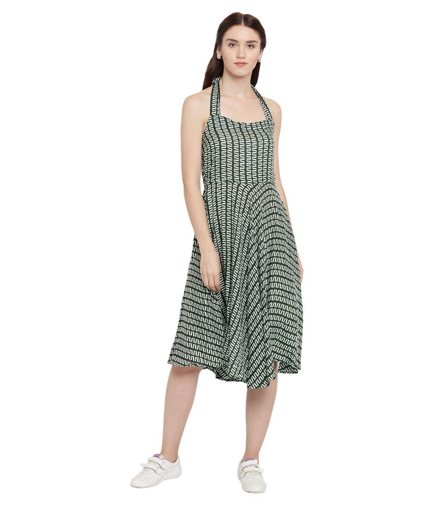 Abiti Bella Rayon Green Fit And Flare Dress