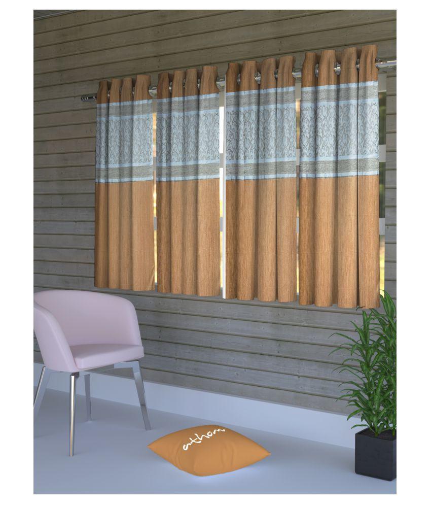 Athom Trendz Set of 4 Window Semi-Transparent Eyelet Polyester Curtains Brown