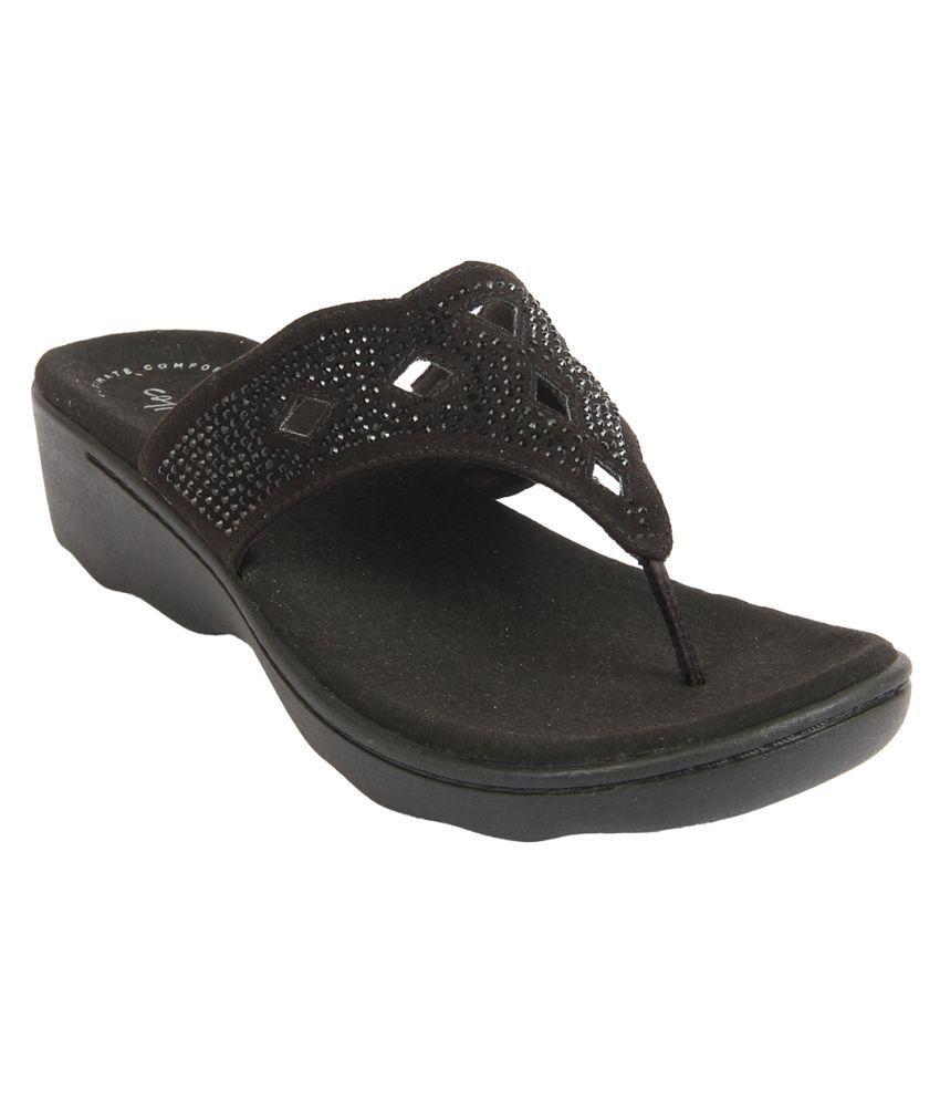 Clarks Black Slippers
